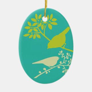 Ornement Ovale En Céramique Oiseaux verts de mod