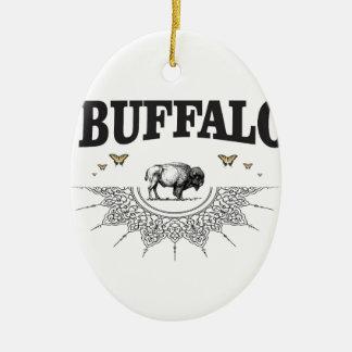 Ornement Ovale En Céramique ombre de taureau de bison