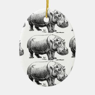 Ornement Ovale En Céramique or d'hippopotame