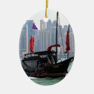 Ornement Ovale En Céramique Ordure chinoise, Hong Kong 2