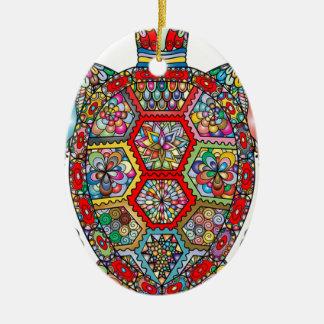 Ornement Ovale En Céramique Ornamental décoratif de fleurs florales de tortue