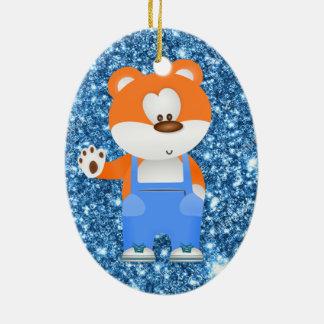 Ornement Ovale En Céramique ours de bande dessinée dans des combinaisons