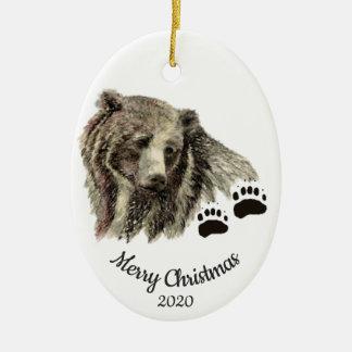 Ornement Ovale En Céramique Ours gris faits sur commande d'aquarelle de Noël