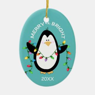 Ornement Ovale En Céramique Ovale bleu de joyeux et lumineux de Noël amusement
