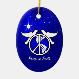 Ornement Ovale En Céramique Paix sur le modèle d'ornement de Noël de la terre