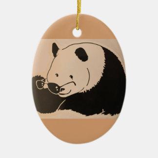 Ornement Ovale En Céramique Panda frais avec des nuances