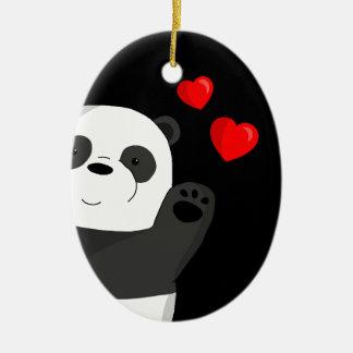 Ornement Ovale En Céramique Panda mignon