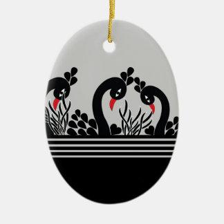 Ornement Ovale En Céramique paon noir