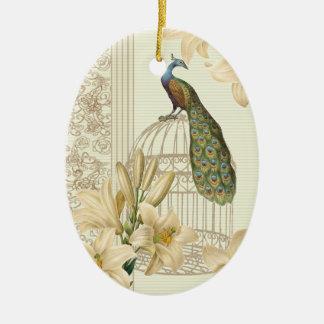 Ornement Ovale En Céramique paon vintage de cage à oiseaux de lis français de