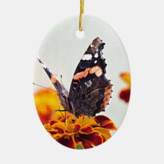Ornement Ovale En Céramique Papillon