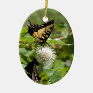 Ornement Ovale En Céramique Papillon de machaon de tigre sur le fleur sauvage