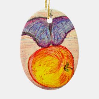 Ornement Ovale En Céramique Papillon et Apple