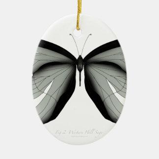 Ornement Ovale En Céramique Papillon occidental de sauge de colline