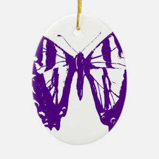 Ornement Ovale En Céramique Papillon pourpre