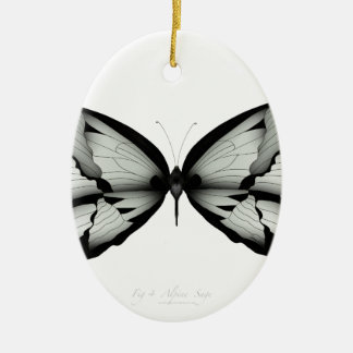 Ornement Ovale En Céramique Papillon sage alpin