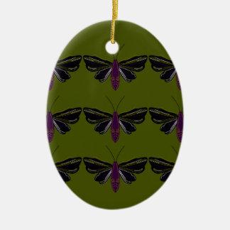 Ornement Ovale En Céramique Papillons noirs avec le vert