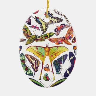 Ornement Ovale En Céramique Papillons vintages
