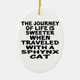 Ornement Ovale En Céramique Parcouru avec le chat de Sphynx