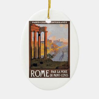 Ornement Ovale En Céramique Paris 1920 à l'affiche de voyage de train de Rome