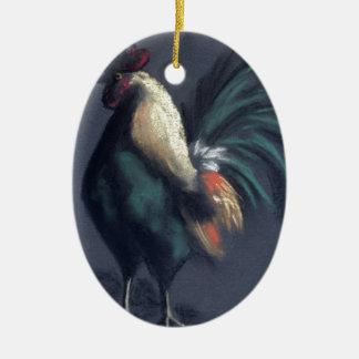Ornement Ovale En Céramique Pastel de coq