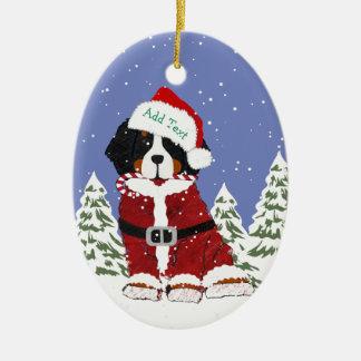 Ornement Ovale En Céramique Pattes faites sur commande de Père Noël de chien