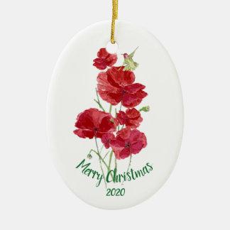 Ornement Ovale En Céramique Pavots datés de rouge de colibri de Noël de