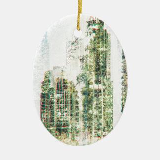 Ornement Ovale En Céramique Paysage urbain et forêt