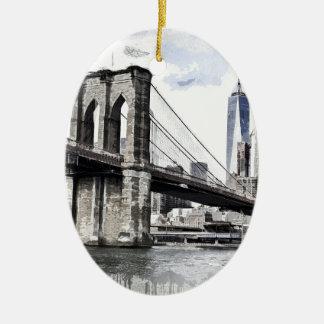 Ornement Ovale En Céramique Paysage urbain Etats-Unis de ville d'horizon