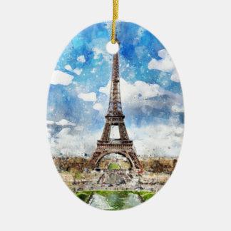 Ornement Ovale En Céramique Paysage urbain Paris, Eiffel d'aquarelle vers