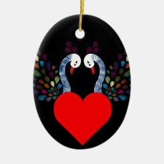 Ornement Ovale En Céramique pecock 3 d'amour
