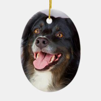 Ornement Ovale En Céramique Peinture de chien - art de chien - choyez l'art