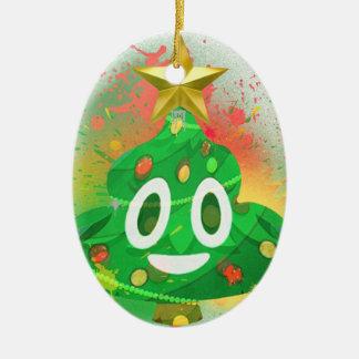 Ornement Ovale En Céramique Peinture de jet d'arbre de Noël d'Emoji