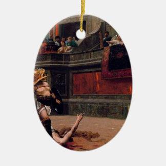 Ornement Ovale En Céramique Peinture de verso de Pollice