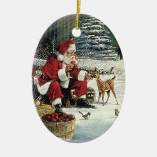 Ornement Ovale En Céramique Peinture du père noël - art de Noël