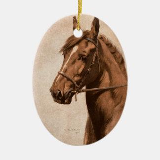 Ornement Ovale En Céramique Peinture noire de cheval de gingembre de beauté