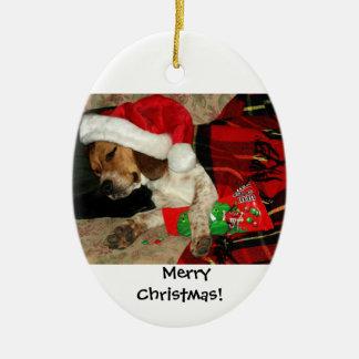 Ornement Ovale En Céramique Père Noël de attente/Noël Snoopy de chien de