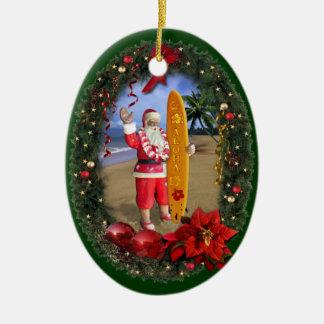 Ornement Ovale En Céramique Père Noël hawaïen