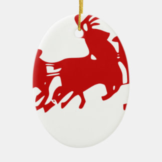 Ornement Ovale En Céramique Père Noël Sleigh tiré par la silhouette de renne