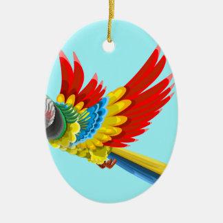 Ornement Ovale En Céramique perroquet