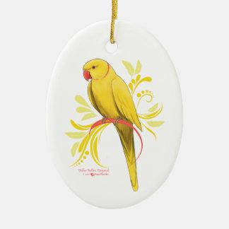 Ornement Ovale En Céramique Perroquet jaune de Ringneck d'Indien