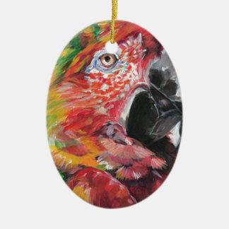 Ornement Ovale En Céramique Perroquet rouge