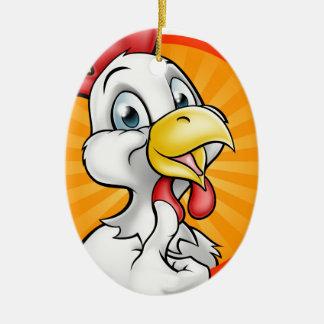 Ornement Ovale En Céramique Personnage de dessin animé de coq de poulet