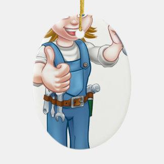 Ornement Ovale En Céramique Personnage de dessin animé femelle de plombier