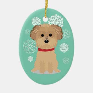 Ornement Ovale En Céramique Petit Terrier mignon avec des flocons de neige