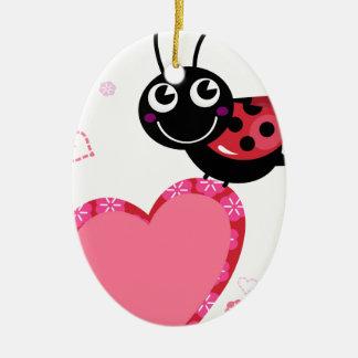 Ornement Ovale En Céramique Petite abeille mignonne rouge avec des points