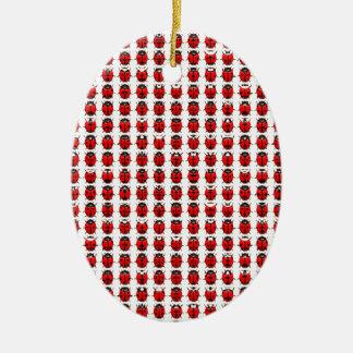 Ornement Ovale En Céramique Petites coccinelles rouges