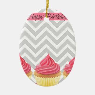 Ornement Ovale En Céramique Petits gâteaux de joyeux anniversaire