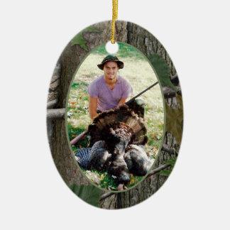 Ornement Ovale En Céramique Photo de chasse de Camo de région boisée