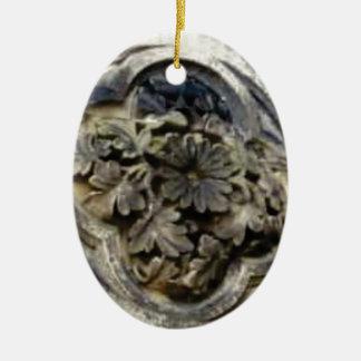 Ornement Ovale En Céramique pierre florale découpée