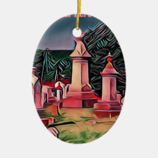 Ornement Ovale En Céramique Pierres tombales lumineuses de cimetière